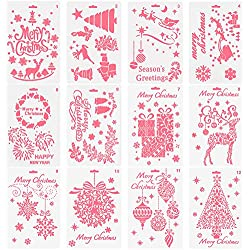 NABLUE Christmas Painting Template ,Creative Christmas Trees/ Reindeer Boots Angel/ Snowflake Snowman Santa Claus Bullet Journal Stencil Set For Journaling, Scrapbooking, DIY Cards Making