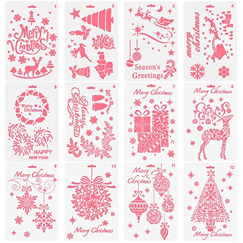 (NABLUE Christmas Painting Template ,Creative Christmas Trees/ Reindeer Boots Angel/ Snowflake Snowman Santa Claus Bullet Journal Stencil Set For Journaling, Scrapbooking, DIY Cards Making)
