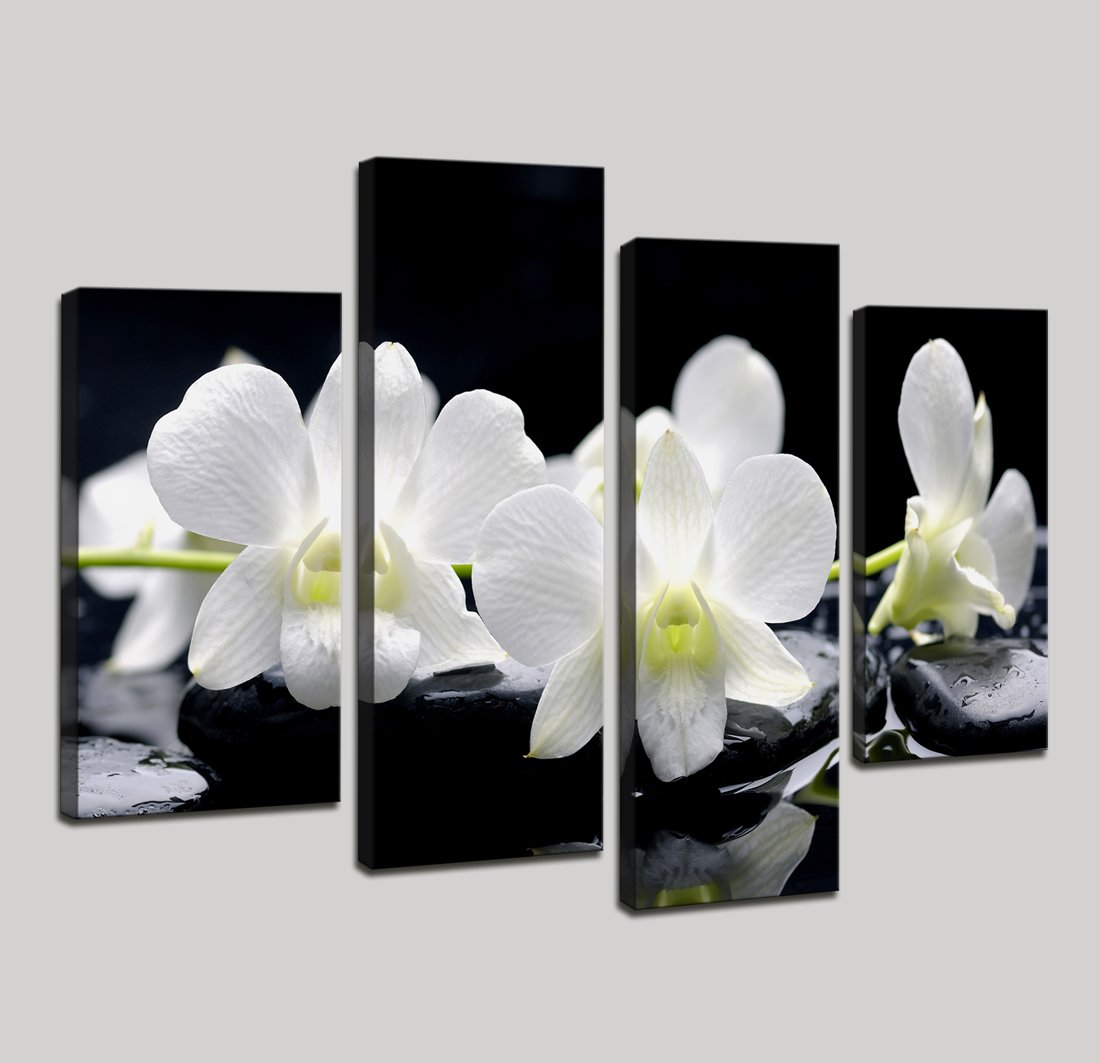 Moyedecor Art - 4 Pieces Wall Art Painting Black Spa Stones Still Life Of Zen Stones With Tropical Phalaenopsis The Pictures Prints On Canvas For Home Decor Decoration Living Room Ready to Hang