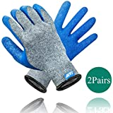 Work Gloves Safety Protection Gloves for Construction, Farming, Warehouse, Woodworking, Gardening, 2 Pairs Large Size