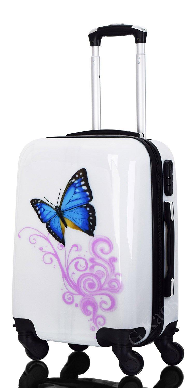G.Kaos - Trolley Valigia Da Cabina 4 Ruote Rigida In ABS Policarbonato - Pellicola Protettiva da Rimuovere - Per Voli Come EasyJet & Ryanair - Fantasia Dream Butterfly 50cm
