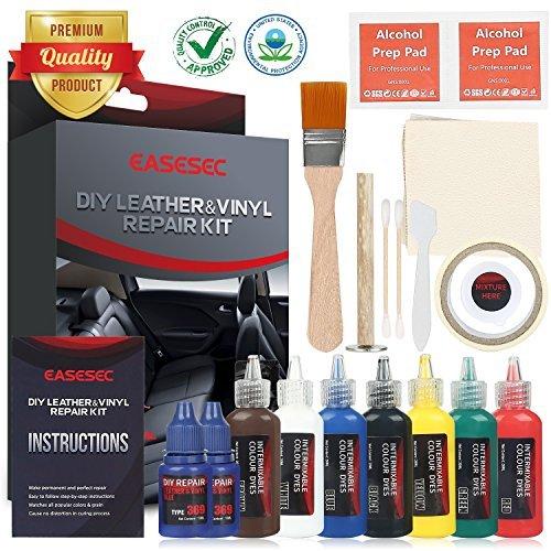 - Leather Repair Kit,EASESEC 25 PCS Professional Vinyl Repair and Restoration Kit for Couches,Car Seats,Sofas,Handbags,2018 Upgrade Vinyl Pool Repair Kit.
