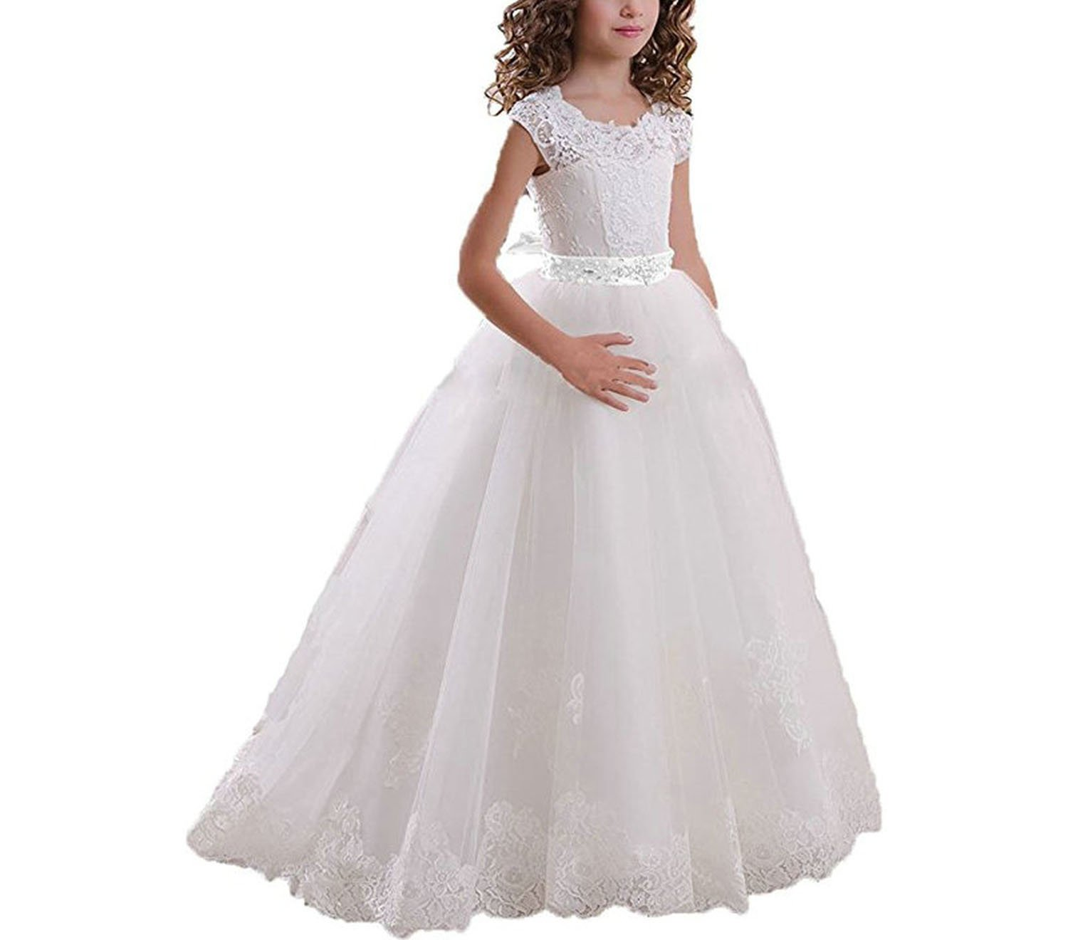 Lace White Flower Girl Dresses for Weddings Belt Bow Girls Pageant Dresses First Communion Dresses,Ivory and White Belt,Child-9