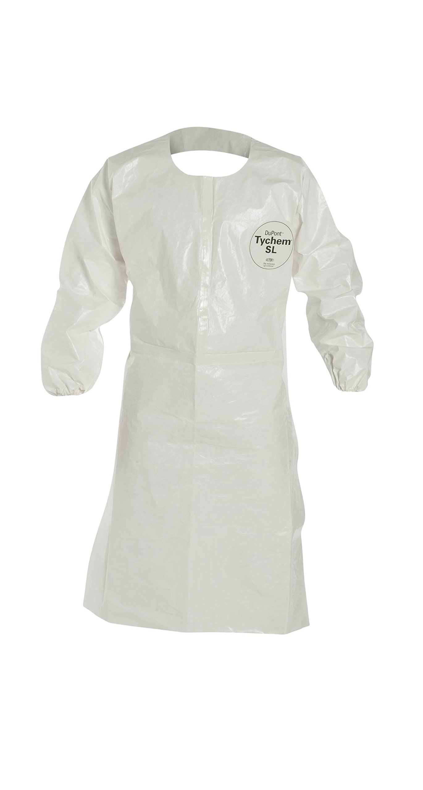 DuPont Tychem 4000 SL275T Disposable Sleeved Chemical Resistant Apron with Elastic Cuff and Taped Seams, White, X-Large (Pack of 25)