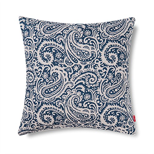 Baibu Decorative Throw Pillow Cover Paisley Cushion Cover for Sofa,18x18 Inch Navy Blue