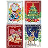 Christmas Card DIY Christmas 5D Diamond Drawing Greeting Card Thank You Card New Year Greeting Card Birthday Card 8 Packs Christmas Decoration Gift Wrapping Paper Background Wallpaper (4 Cards)