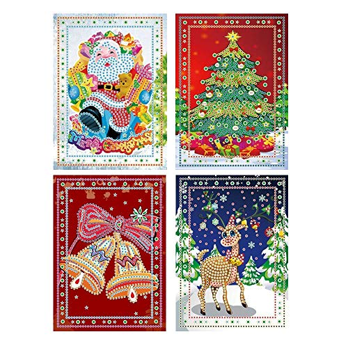 Christmas Card Diamond Painting Christmas Tree Santa Claus Full Drill New Year Greeting Card Christmas Stickers Embroidery Cross Stitch Home Decor(4 Pack) (E Greeting Cards For Christmas And New Year)