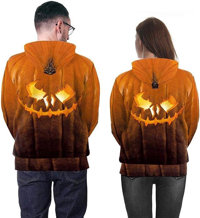 d126d6ba4dc Amazon.com  Novelty Village Halloween Scary Hoodies 3D Print Long ...