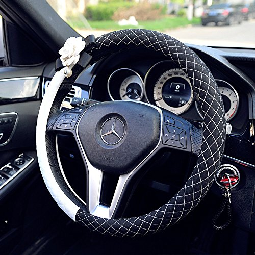 Inebiz Cotton Black And White Car Steering Wheel Cover With Beautiful Camellia  Rhombic Lattice Pattern  Four Seasons General And 15  Universal Fit