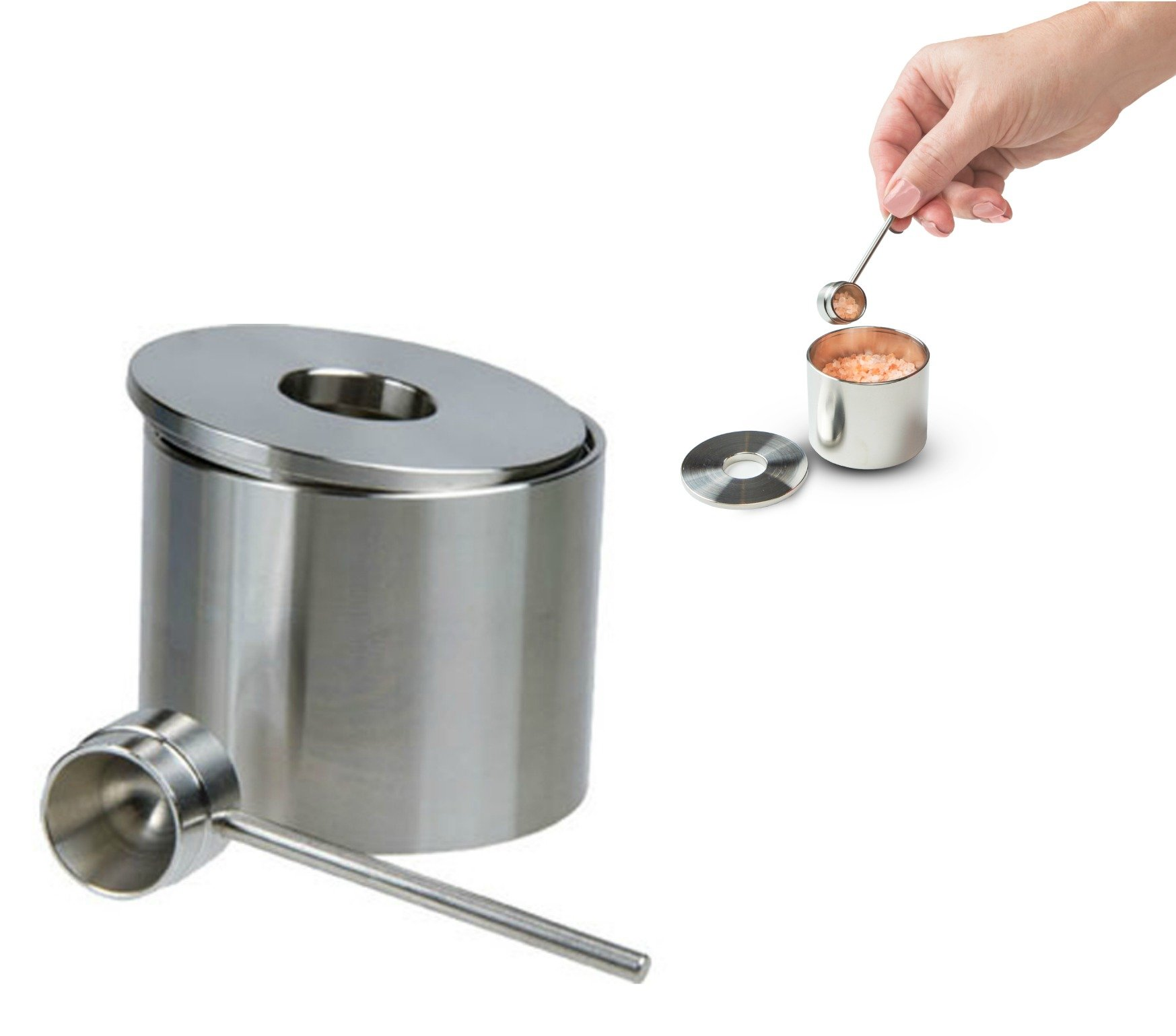 Salt Cellar, Spice Jars Stainless Steel, Grind Gourmet Storage Spice Jars Silver Cellar With Spoon Solid Stainless Steel Holder (1.58'', Silver)