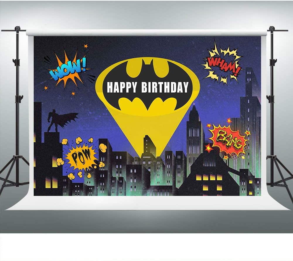 Superhero Cityscape Backdrop for Bat Man Party Boom Background 7x5ft Photo Booth Banner for Cake Table Supplies LSVV1180