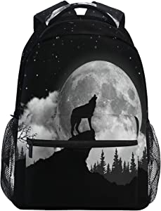 Ombra Backpack Howling Wolf Moon School Shoulder Bag Large Waterproof Durable Bookbag Laptop Daypack for Students Kids Teens Girls Boys Elementary