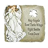 Joseph's Studio Angel and Shamrock Relief Garden Stone with Inscribed Verse, 9-Inch, Made of Resin Stone