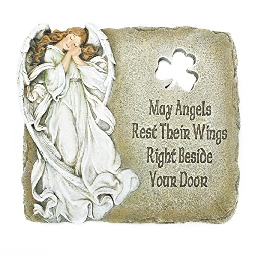 Joseph's Studio Angel and Shamrock Relief Garden Stone with Inscribed Verse, 9-Inch, Made of Resin Stone (Resin Relief)