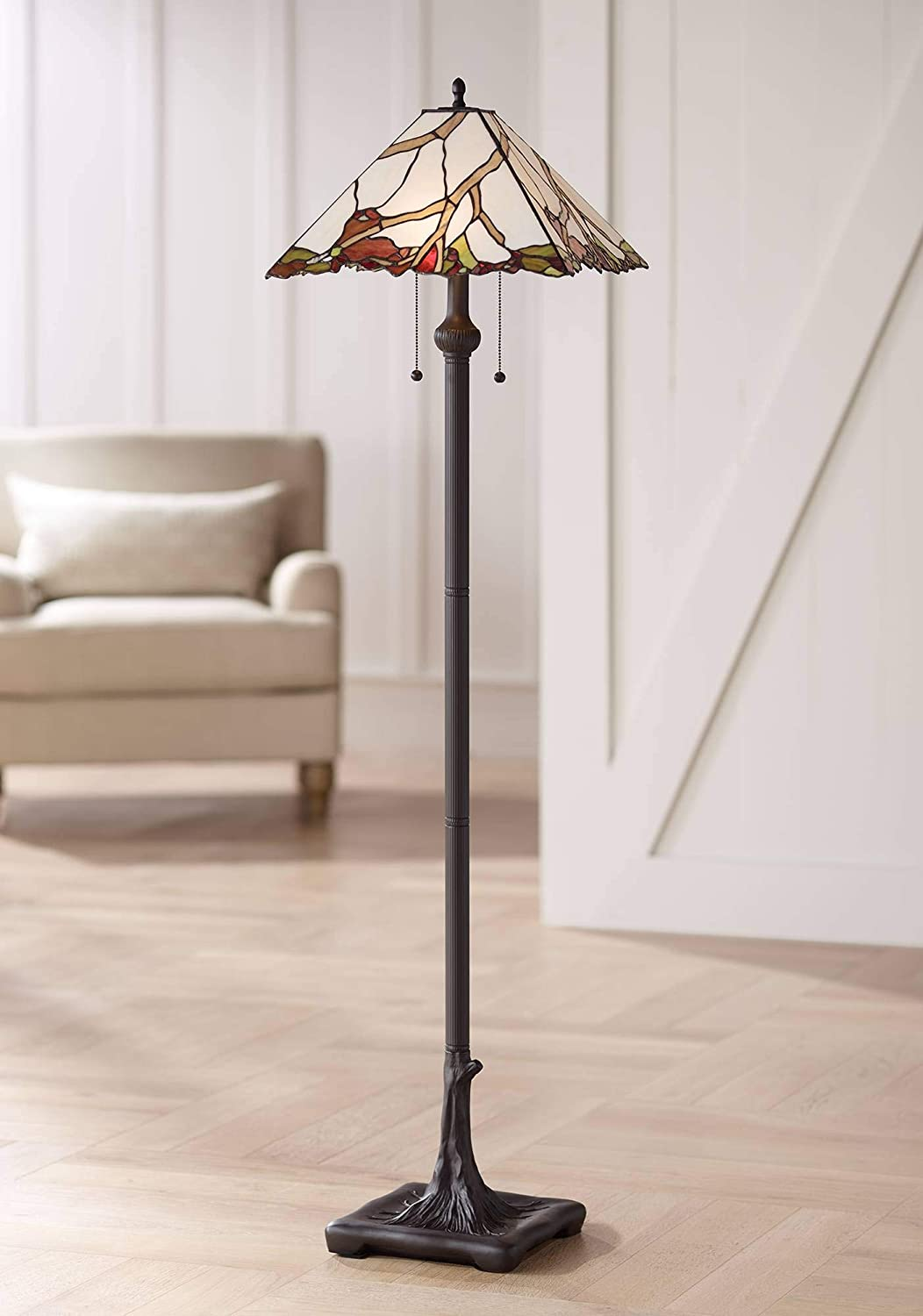 Country Cottage Floor Lamp Bronze Tree Root Cherry Blossom Pattern Stained Glass for Living Room Reading – Robert Louis Tiffany