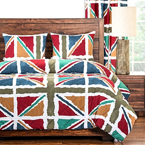 2 Piece British Flag Inspired Windsor Patterned Comforter Set Twin Size, Featuring Printed Colorful Graphic Flags Bedding, Nostalgic Artful Brit Design, Bold Modern Style European Bedroom, Multicolor