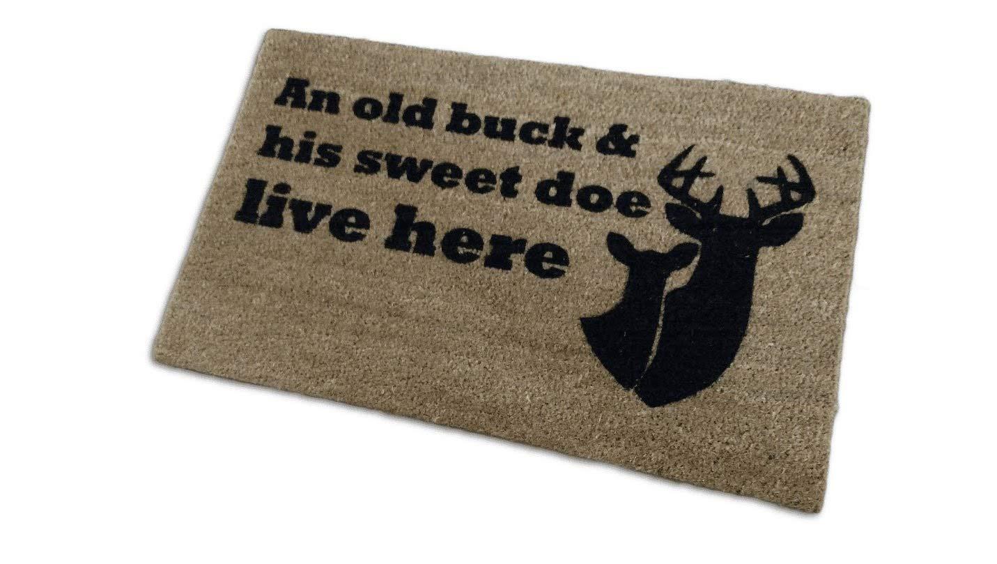 Size Large Custom Hand Painted Doormat by Killer Doormats Doormat Welcome Mat An Old Buck /& His Sweet Doe Live Here Coir Funny Doormat