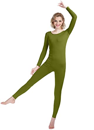 52ffe83a09 Shinningstar Girls Womens Well-fit Spandex Lycra Bodysuit Long Sleeve Scoop  Neckline Footless Unitard (