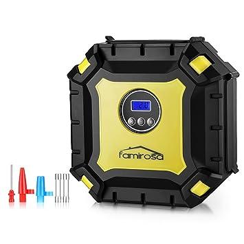 FAMIROSA Compresor de Aire Digital, Inflador Eléctrico Portátil Automático para Neumáticos, Bomba de Aire