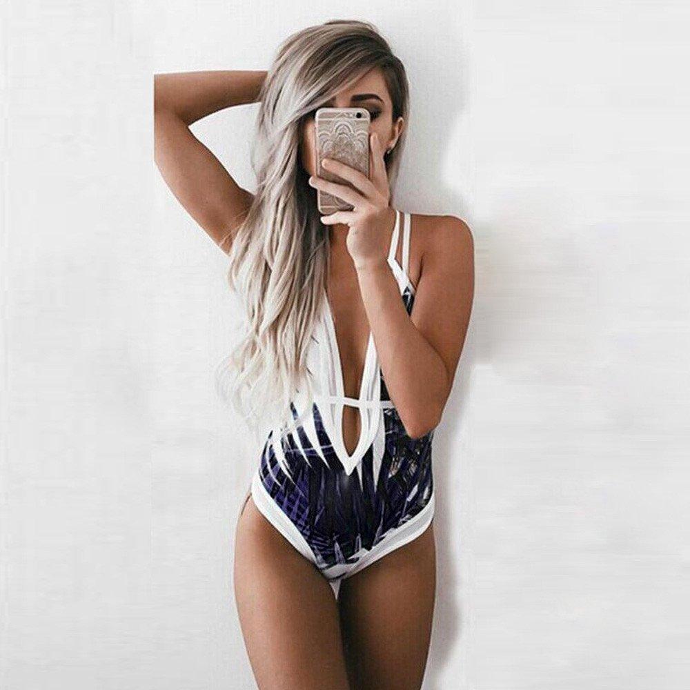Auifor Damen Badeanzug Bademode Badeanzug Monokini Push Up Padded Bikini