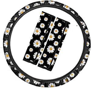 Cozeyat Daisy Flower Steering Wheel Cover with Autism Seat Belt Covers Safety Automotive Car Accessories Universal Fits Winter Warm Keeper