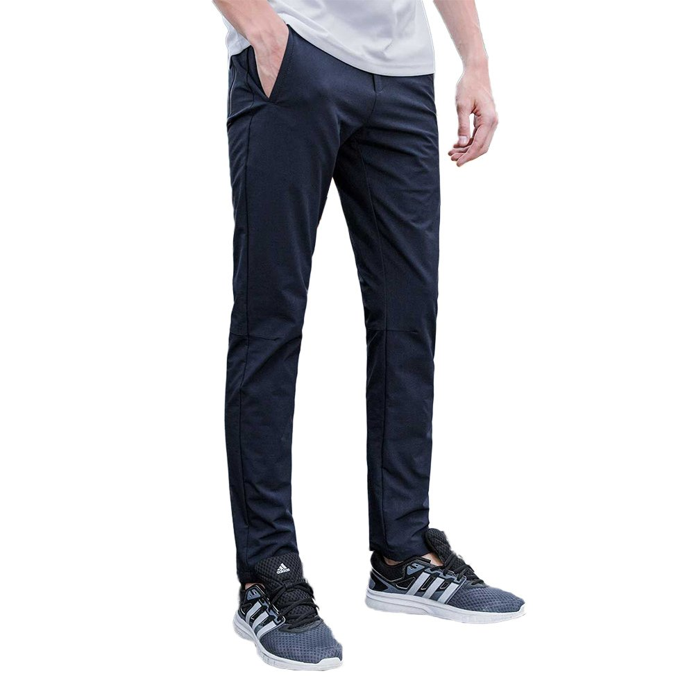 Aoli Ray Men's Spring and Summer Slim Fit Stretchy Casual Pants Outdoor Sports Quick-Dry Lightweight Waterproof Trousers (Dark Blue, 30)