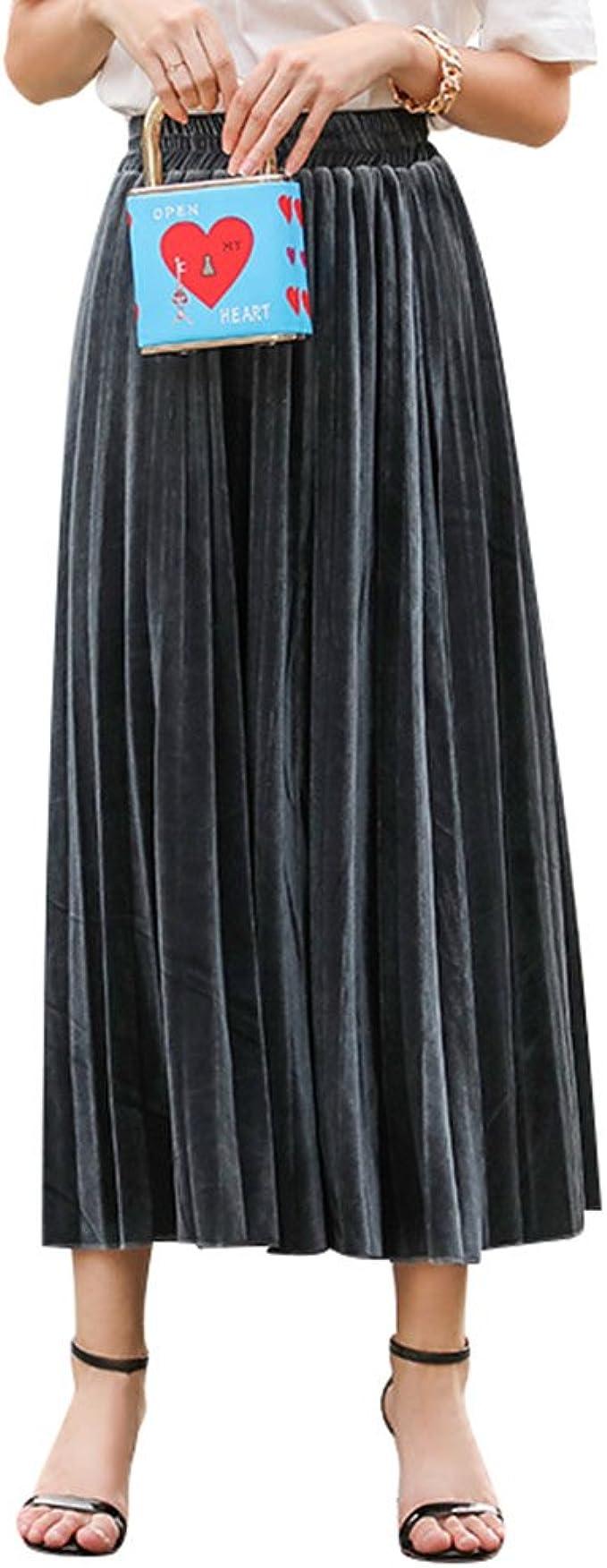 ZKOOO Mujeres Verano Larga Falda de Tablas Cintura Alta Maxi ...