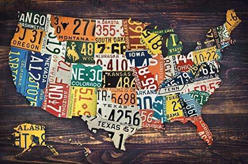 (Zapista License Plate Map of The United States Art Print USA Vintage Plates Poster Home Wall Decor Unframed (36