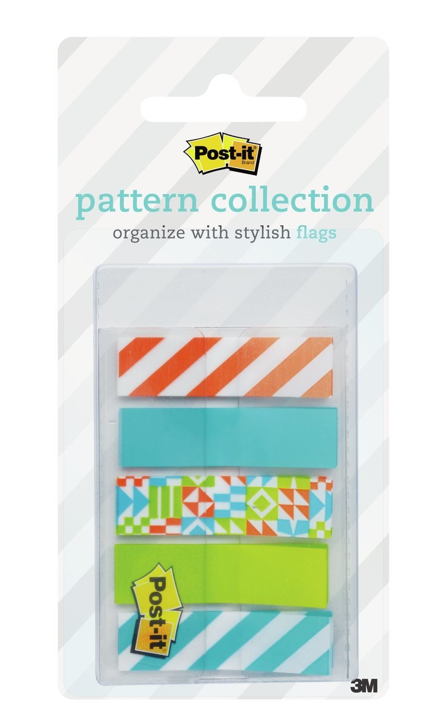 Post-it Pattern Flags, Geos Pattern Collection, 0.47 x 1.7 Inches, 100/On-the-Go Dispenser, 1 Dispenser/Pack (684-GEOS)