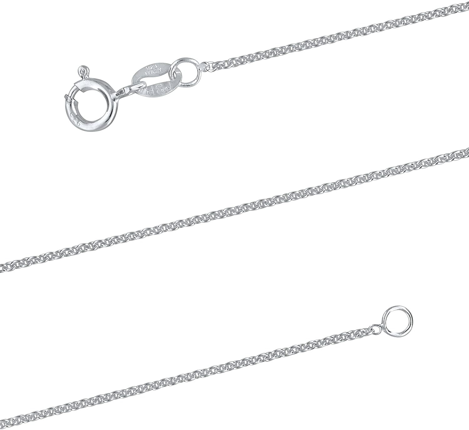 Sterling Silver 1.3mm Cable Chain Necklace Solid Italian Nickel-Free 15-24 Inch