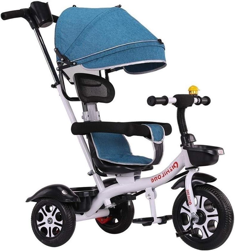 子供三輪車 SONG キッズバイク 1-2-3-6歳のベビーカー ベビーカー 子供用自転車 調整可能なオーニング ブレーキ 取り外し可能なガードレール付き (Color : Blue)