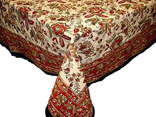 India Arts Handmade Jaipur floral Print 100% Cotton Tablecloth Earthern 60x90 Rectangular