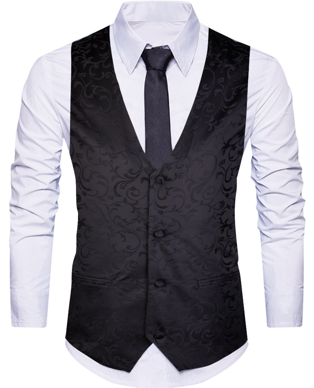 WANNEW Mens Suit Vest Business Dress Waistcoat Vests Paisley Vest for Suit or Tuxedo (Black, XXL)