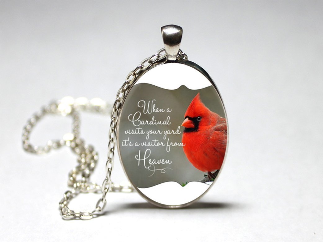 necklace tree cardinal w photo handmade free full shipping cabochon wintry bird aliexpress night wholesale com get and buy moon glass pendant on a