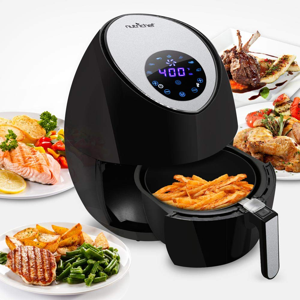NutriChef Electric Hot Air Fryer Oven w/ Digital Display - Big 3.4 Qt Capacity Stainless Steel Kitchen Oilless Convection Power Multi Cooker w/ Basket, Pan - Use for Baking, Grill - PKAIRFR42 (Black)