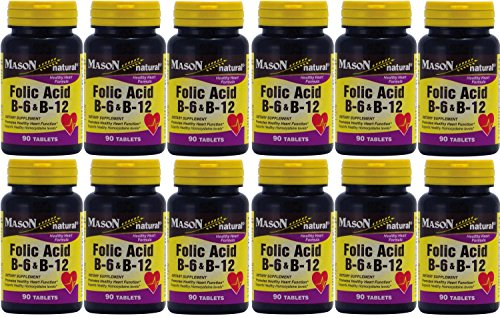 Mason Vitamins Folic Acid B-6 & B12 Heart Health Formula 90 Tablets per Bottle Pack of 12 Total 1080 Tablets by Mason Vitamin