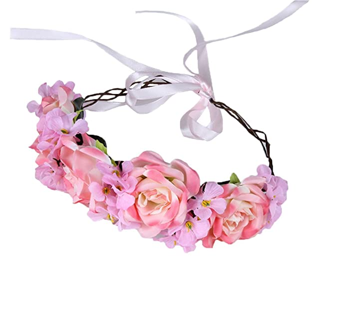 Vivivalue Rose Flower Crown Boho Flower Headband Hair Wreath Floral