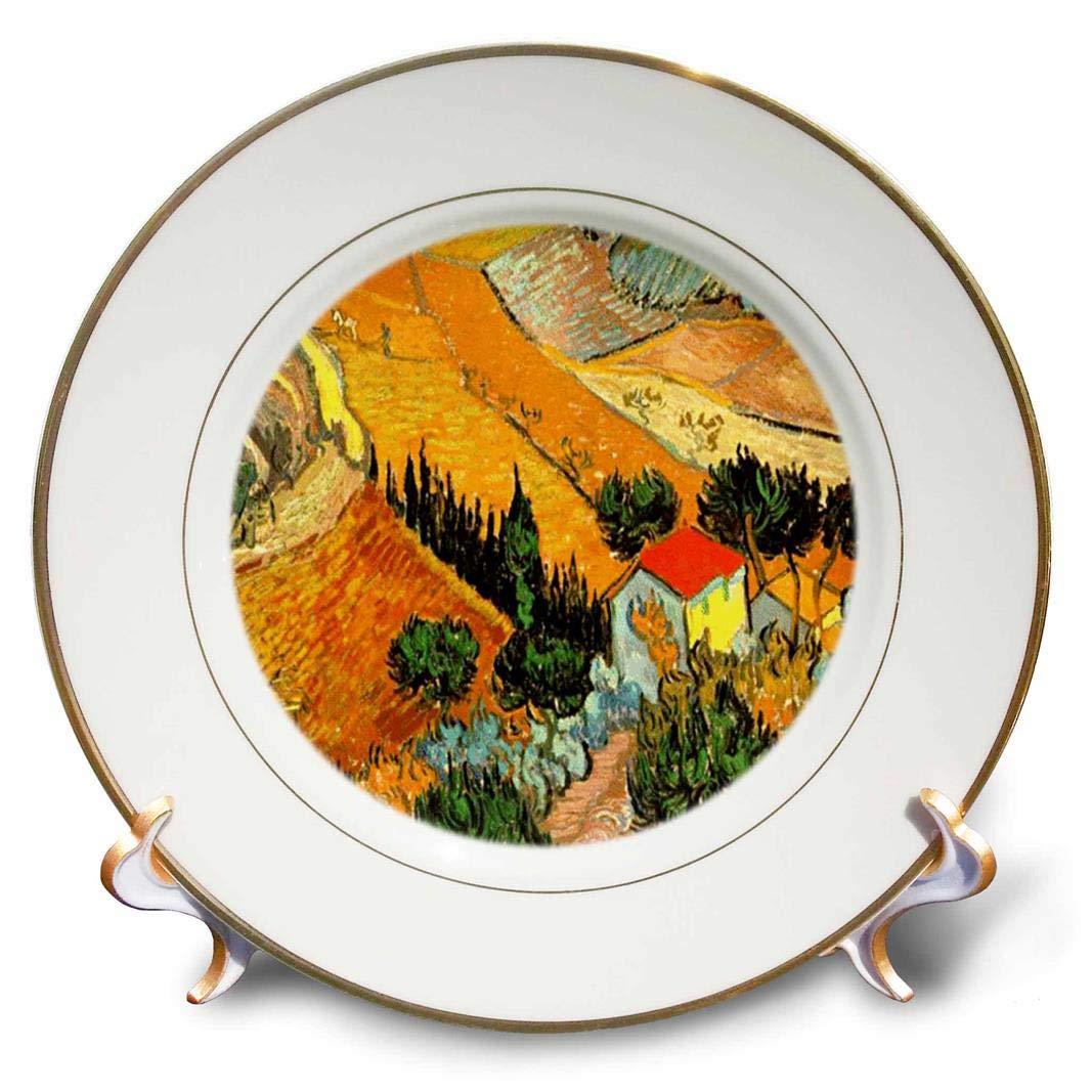 3dRose cp/_48156/_1 Van Gogh Landscape Porcelain Plate 8