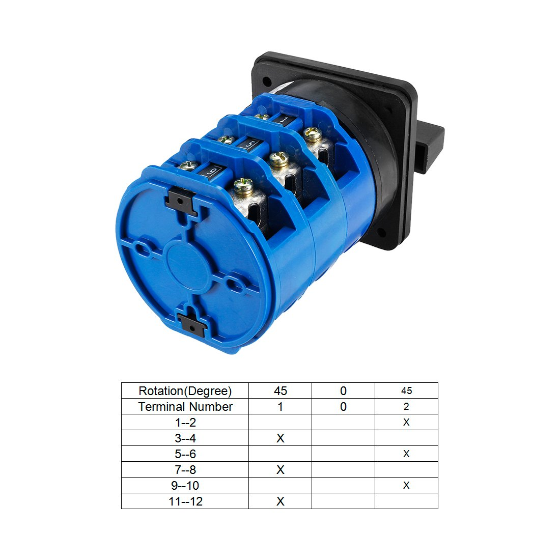 uxcell Changeover Switch 3 Position Rotary Selector Cam Switch Panel Mount 12 Terminals Latching Ui 550V Ith 20An Red a18042500ux0205