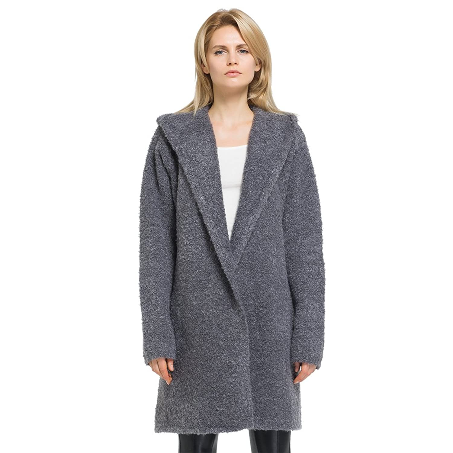 WEN TING Women's Plus Size Lapel Knitted Cardigan Sweater with Hoodies