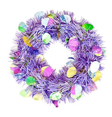 Easter Egg Wreath - Easter Tinsel Wreath,Holographic Eggs,Plastic Frame,Hanging Circle.18 (Purple)