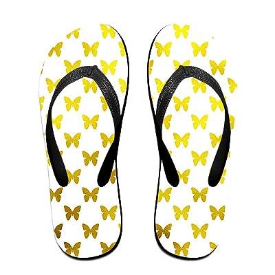 Men Women Golden Butterfly Comfort Flat Flip Flops Sandals Beach Slipper