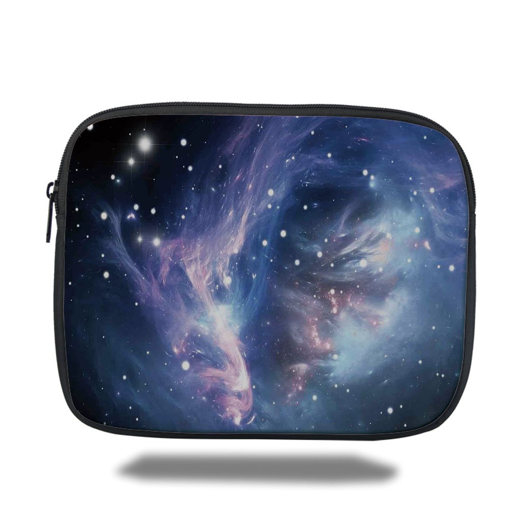 Laptop Sleeve Case,Space Decorations,Mysterious Nebula Gas Cloud in Deep Ouuter Space with Star Cluster Universe Solar,Navy Purple,iPad Bag