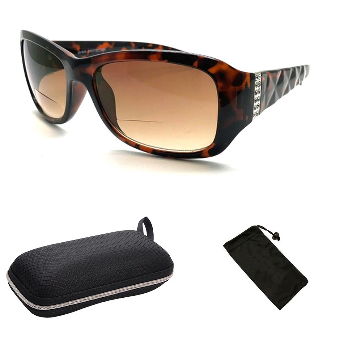 Bifocal Sun Readers All in One Women Premium Designer Fashion Sunglasses Reading Glasses (Tortoise, 2.50)