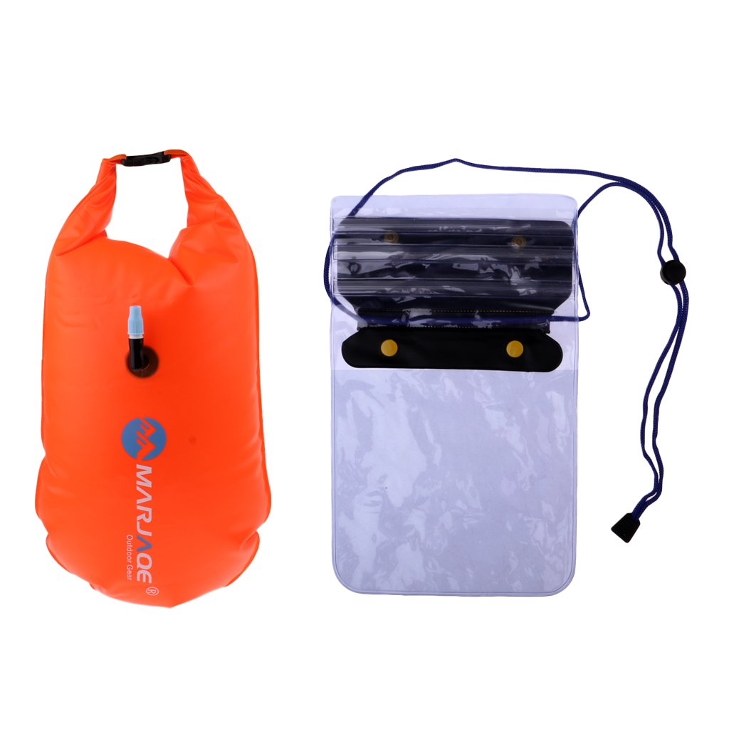 Baosity Inflatable Swim Safety Tow Float Dry Bag Sack Orange + Anti-water Phone Case Cover for Water Sports by Baosity (Image #1)
