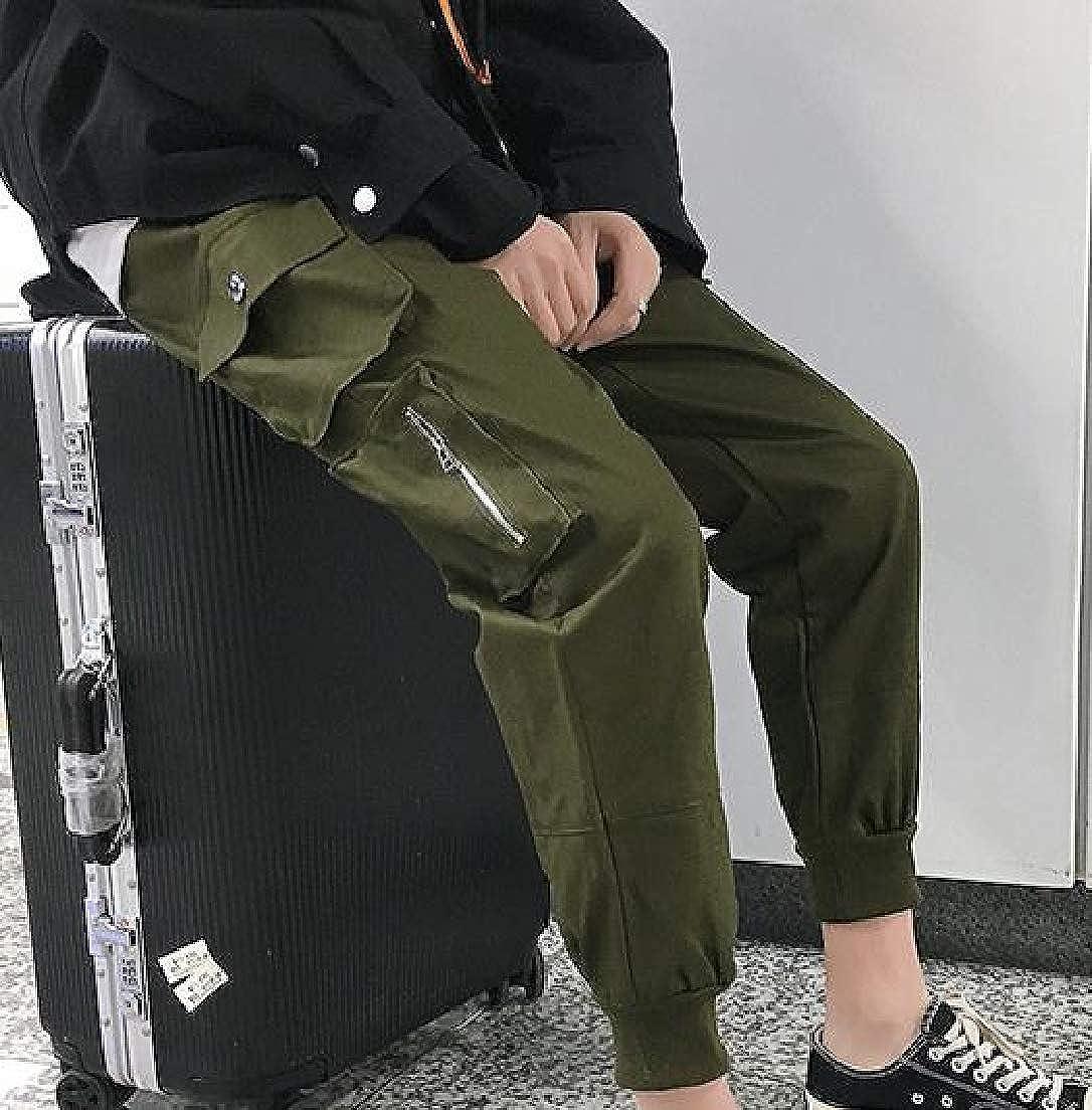 Vska Men Elastic-Waist Fit Cargo Multi-Pocket Close Bottom Casual-Pants