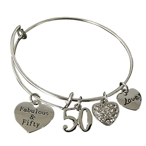 Infinity Collection 50th Birthday Gifts For Women Expandable Charm Bracelet Adjustable Bangle