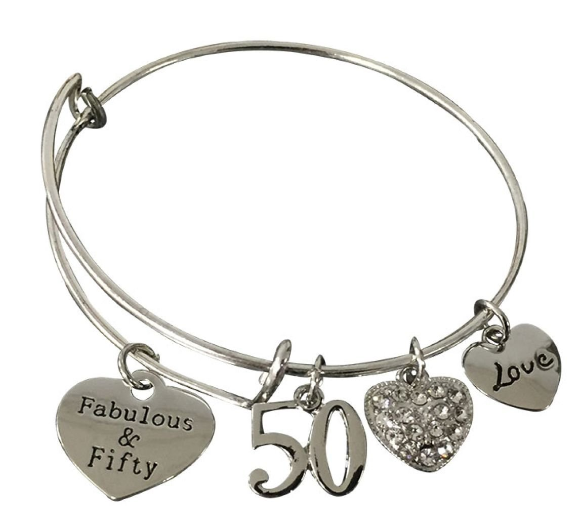 Infinity Collection 50th Birthday Gifts for Women, 50th Birthday Expandable Charm Bracelet, Adjustable Bangle, Perfect 50th Birthday Gift Ideas