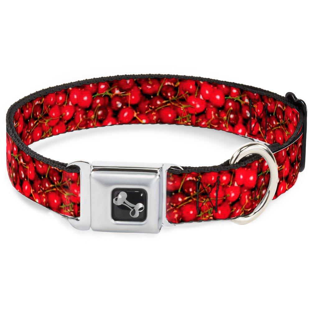 Buckle-Down Fresh Cherries Stacked Dog Collar Bone, Wide Medium 16-23