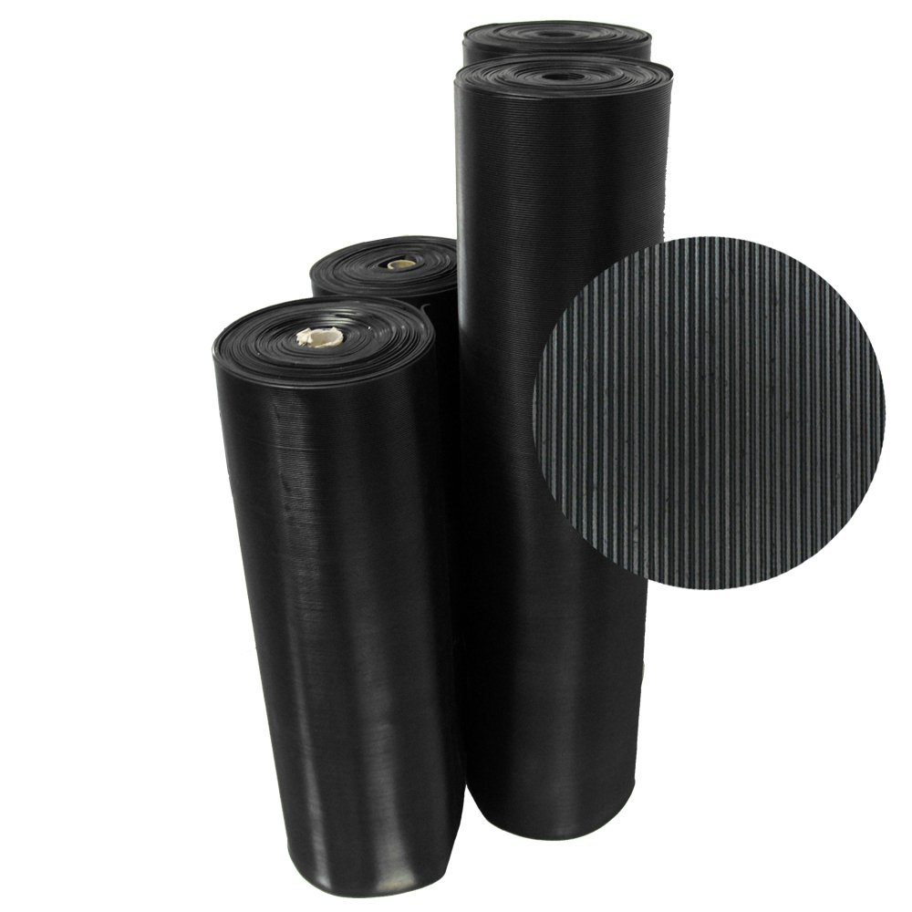 Rubber-Cal 03_168_W_FR_10 Fine Rib Corrugated Rubber Mats, 1/8'' Thick x 4' x 10' Runners, Black